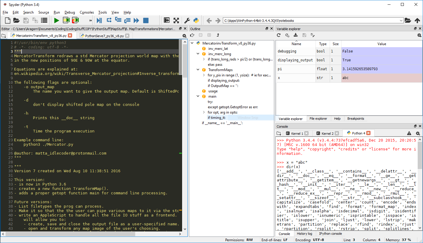 typical Spyder desktop setup showing the code, outline, variable explorer and Python console