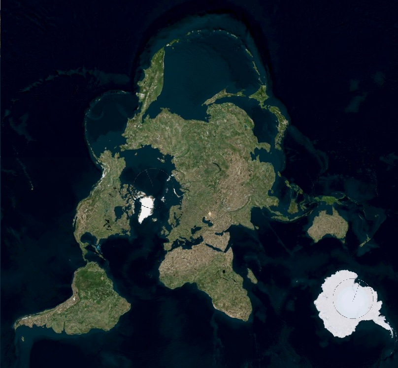 World Map with the map poles shifted to the North Pacific and South Atlantic and the Arctic ice cap already gone