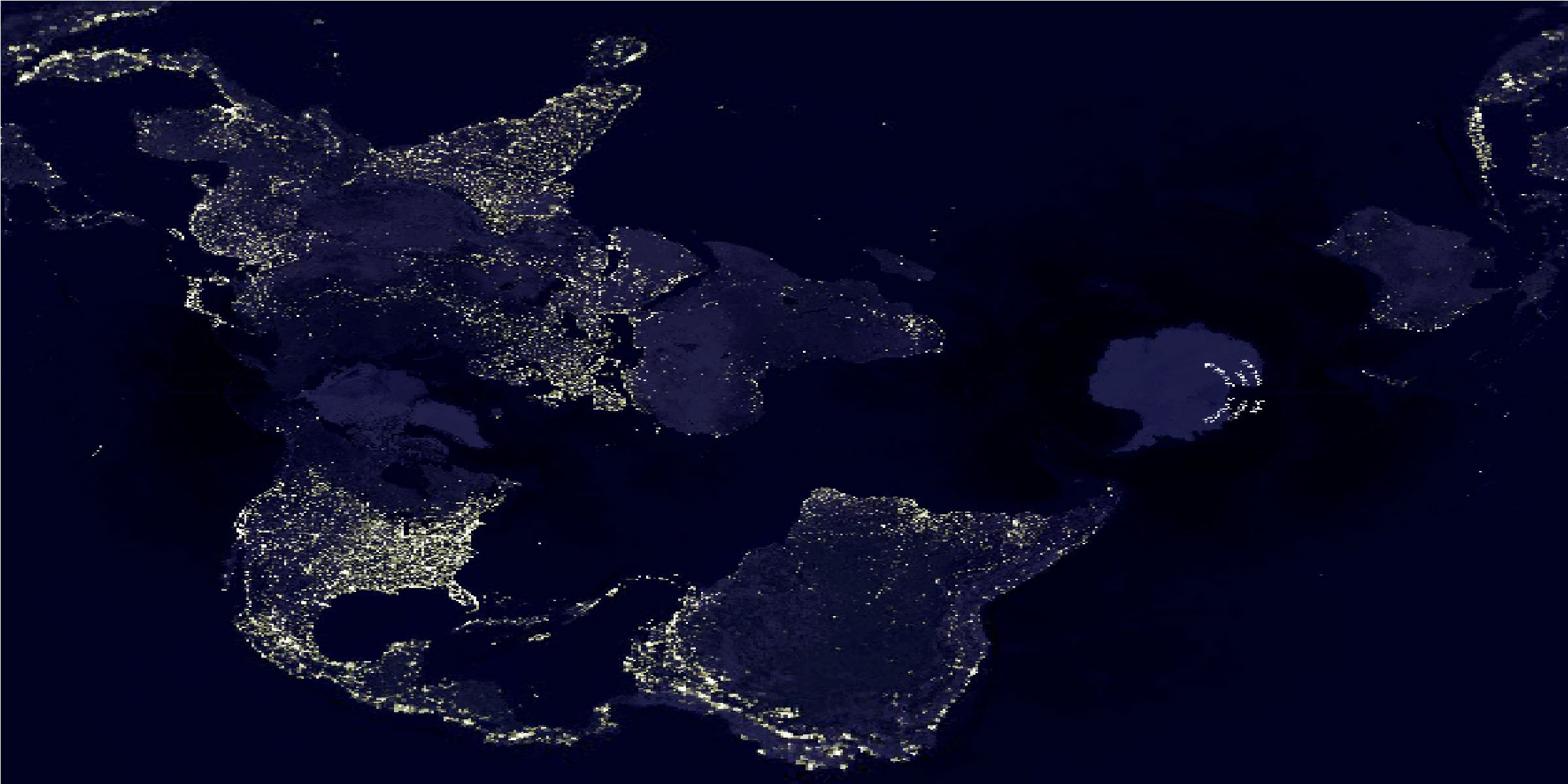 Transverse Mercator projection of the world at night