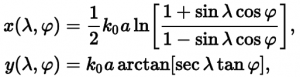 the forward equations for calculating the Transverse Mercator map position of a given point of latitude and longitude