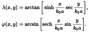 the inverse equations for building the output map, line by line, from points on the normal Mercator input map