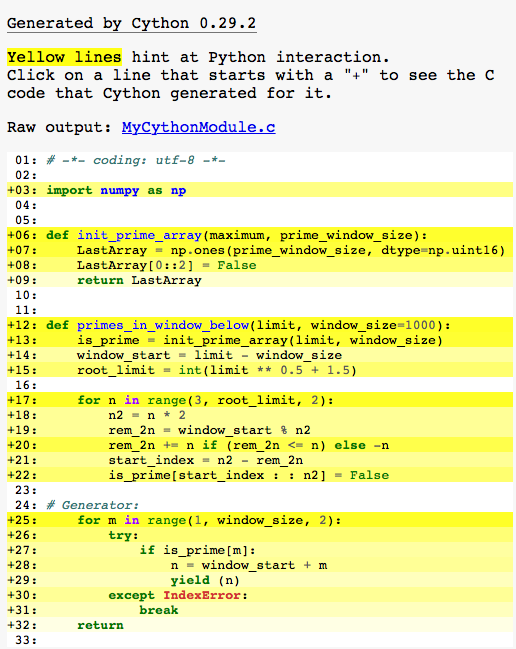 Cython annotated HTML progress file showing how much Python has been converted into Cython - before any Cython mods