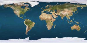 Geographical Mercator map of the world, without countries or gridlines